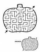 Halloween Festival Themed Maze Or Labyrinth, Pumpkin Shaped. Answer Included. poster