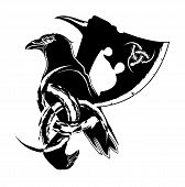 Vector Illustration Of Scandinavian Myths. Raven, Viking Axe And Sacred Symbol. Traditional Ancient  poster