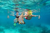 Happy Family - Mother, Kid In Snorkeling Mask Dive Underwater, Explore Tropical Fishes Platax ( Batf poster