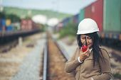 Woman Engineer And Safety And Health Officer Concept.young Woman Engineer Wear Safety Hat (helmet),s poster