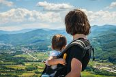 Traveling Outdoor Hiking Walking Nature. Mother And Child Traveling In Nature. Travel Outdoor Backpa poster