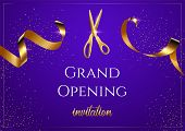 Grand Opening Blue Invitation Vector Banner. Mall, Store Sales Promotional Poster. Shiny Scissors Cu poster