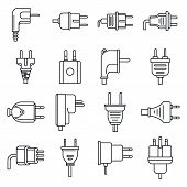 Plug Cord Icons Set. Outline Set Of Plug Cord Vector Icons For Web Design Isolated On White Backgrou poster