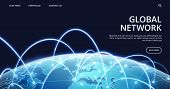 Global Network Landing Page. Internet And Global Connection Vector Background. Illustration Connecti poster