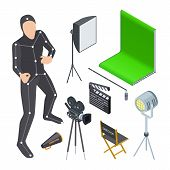 Movie Production Equipment. Isometric Cinematograph Elements. Vector Camera, Light, Motion Productio poster