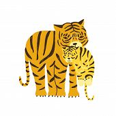 Tiger Carrying Its Cub Isolated On White Background. Adorable Family Of Cute Funny Wild Exotic Carni poster