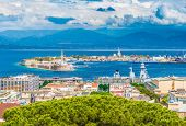 Beautiful Panorama Of Messina Port With Blue Mountains In The Background. It Is Written On The Seawa poster