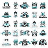 Video Game Labels. Gaming Console Cybersport Logo Joystick Controller Symbols Of Entertainment Club  poster