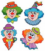 stock photo of circus clown  - Clowns head collection on white background  - JPG