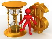 pic of hourglass figure  - Man with hourglass and dollar - JPG