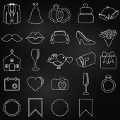 picture of ring-dove  - Vector Collection of Chalkboard Wedding Doodle Icons - JPG