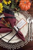 Beautiful Thanksgiving Table Setting With Lace Doily Place Setting And Fine Bone Chia With Vintage S