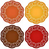 Retro Lace Doily Place Mats, Harvest Colors