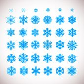 Snowflake vector Christmas holiday icons. Snow flake winter season art collection