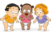 Illustration of a Group of Baby Girls in Diapers Looking Downwards