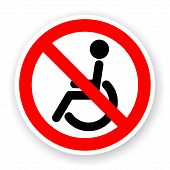 stock photo of retarded  - sticker of no wheelchair sign with shadow - JPG