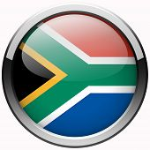South Africa Flag Gel Metal Button