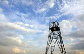 picture of geodesic  - Geodesic triangulation point on the background of cirrus clouds and blue sky - JPG