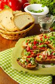 pic of hardtack  - Sandwiches with vegetables and greens on plate on wooden table close - JPG