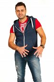 picture of rapper  - Happy rapper man in jeans gesticulate isolated on white background - JPG