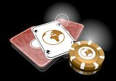 foto of posh  - Pastel gray golden casino 3d graphic with posh world sign on poker cards - JPG