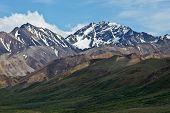 stock photo of denali national park  - The mountains and valleys of Alaska - JPG