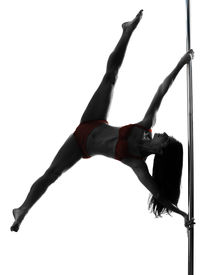 picture of lap dancing  - one caucasian woman pole dancer dancing in silhouette studio isolated on white background - JPG