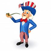 pic of uncle  - 3d rendered illustration of Uncle Sam with smoking pipe - JPG