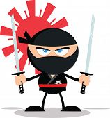 image of ninja  - Angry Ninja Warrior Cartoon Mascot Character With Two Katana Flat Design  Illustration Isolated on white - JPG