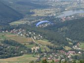 stock photo of zar  - Paragliding in the Żywiec' mountains. Start is at the mount Zar.
