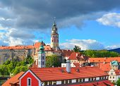 Gothic Castle And Hradek Tower In Cesky Krumlov