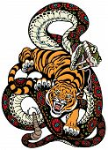 Tiger And Snake Fight
