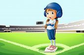 pic of landforms  - Illustration of a baseball player at the court - JPG