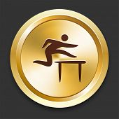 Hurdle Icons on Gold Button Collection