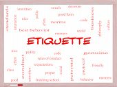 stock photo of politeness  - Etiquette Word Cloud Concept on a Whiteboard with great terms such as manners polite social and more - JPG