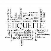 stock photo of polite  - Etiquette Word Cloud Concept in black and white with great terms such as manners polite social and more - JPG