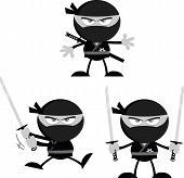 pic of chibi  - Angry Ninja Warrior  Cartoon Mascot Characters 1 Flat Design In Gray Color  Collection Set - JPG