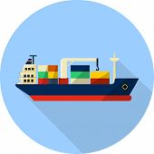 stock photo of shipbuilding  - tanker cargo ship with containers  - JPG