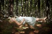foto of levitation  - Photo of Levitating woman in the forest - JPG