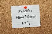 image of psychological  - he phrase Practice Mindfulness Daily on a piece of paper pinned to a cork notice board - JPG