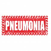 picture of pneumonia  - pneumonia grunge stamp with on vector illustration - JPG