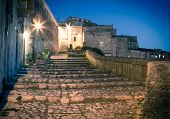 stock photo of sassy  - sassi the historic center of the city Matera in Italy details of old stairs - JPG