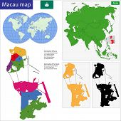 Vector map of the Macao Special Administrative Region of the People's Republic of China drawn with h