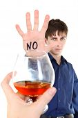 picture of alcohol abuse  - Teenager refuses Alcohol Isolated on the White Background  - JPG