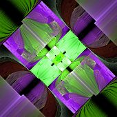 Fractal Pattern In Green And Purple. Computer Generated Graphics.