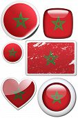 Set Of Stickers And Buttons - Morocco