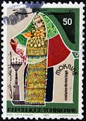REPUBLIC OF TUNISIA - CIRCA 1985: A stamp printed in Tunisia shows a woman with wedding dress