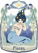 image of pisces  - Blue haired and dressed woman represents the pisces horoscope sign - JPG