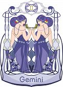 pic of gemini  - Two blue haired and dressed woman smell flowers and represens the gemini horoscope sign - JPG