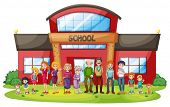 stock photo of school building  - Illustration of a big family in front of the school building on a white background - JPG